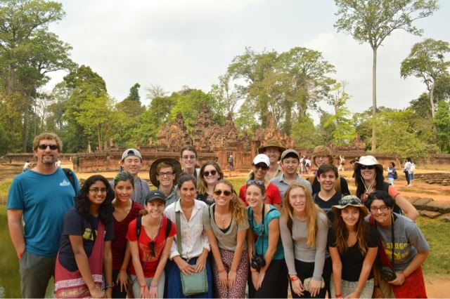 Group photo in front of Banteay Srei temple.
