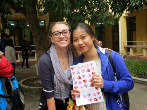 Senior Grace Sellick gifts her pen pal, My, a copy of our school magazine, The Scribe.