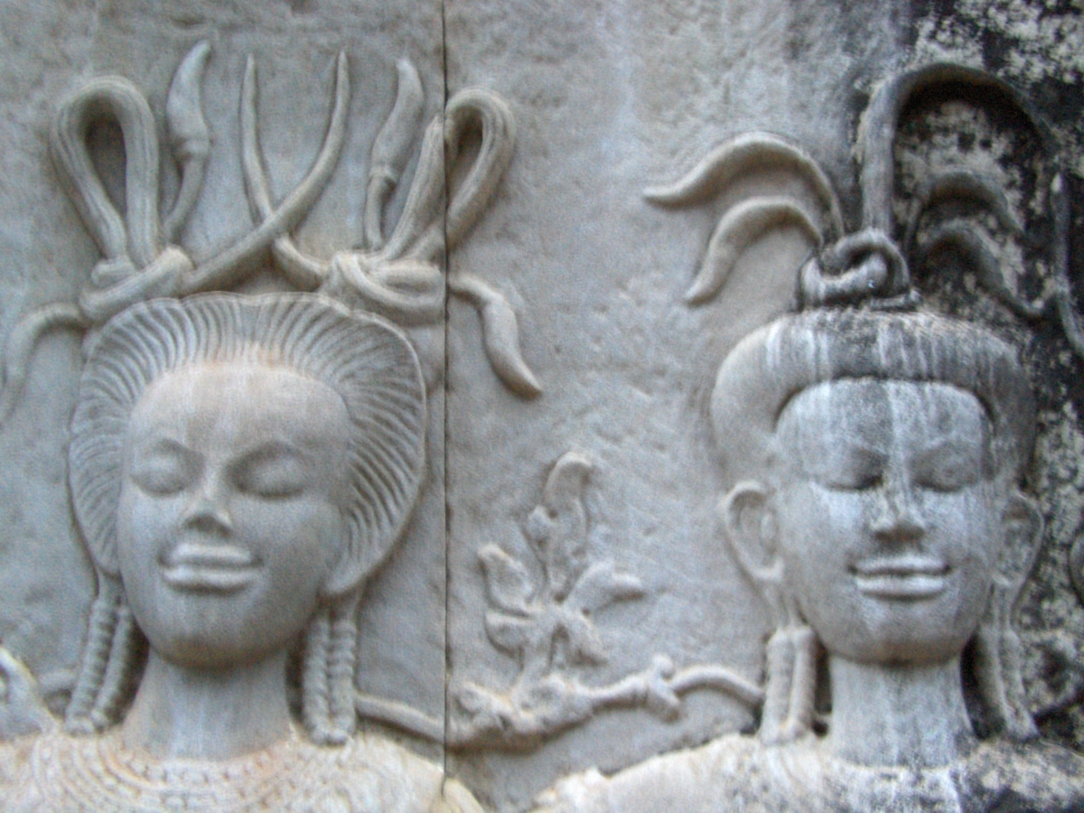 View of stone facade during our Cambodia student travel program